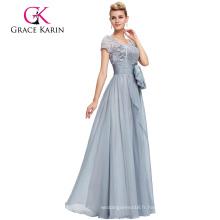 Grace Karin Formal Grey Longue Mère de la mariée Robe de mariée à manches courtes en dentelle CL4445