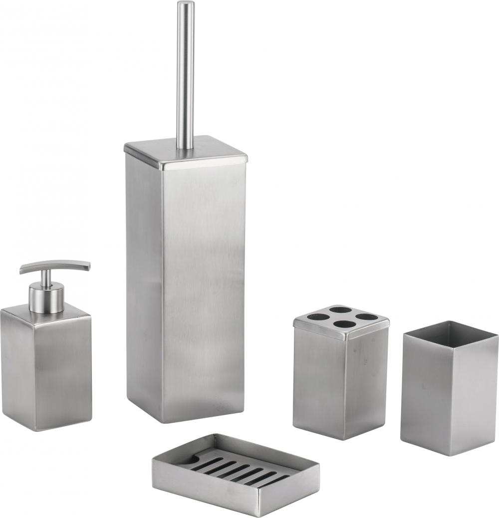 SS Square Stainless Steel Bathroom Accessory Set