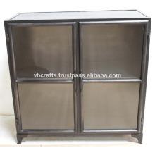 Portes en verre à écran noir industriel Vintage Cabinet