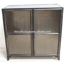 Industrial Vintage Cabinet Dark Color Glass Doors