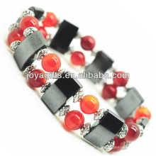Bracelet de l'amplitude de l'hématite magnétique avec des billes rondes en alliage et 8MM Red Agate