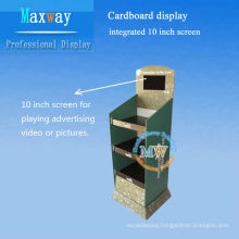 cardboard counter display integrated 10 inch LCD screen