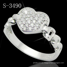 Anillo de plata de ley 925 con estilo de corazón diseñado (S-3490)