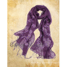 fashion linen scarf with embroidery for spring season