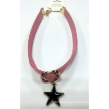 Fabric Necklace Choker with Star Charms with Black Enamel