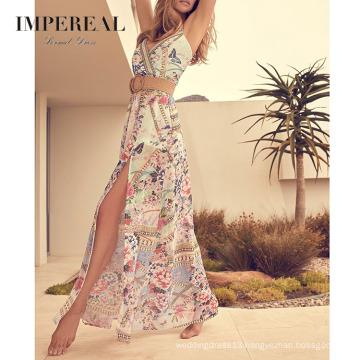 Slit Floral Placement Print Maxi Beach 2020 Summer Woman Dresses