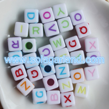 Cubo di plastica quadrato Loose perline materiale alfabeti lettera perline Charms 7MM
