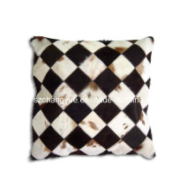 Natural Leath Cowhide Patch Decoration Cushions