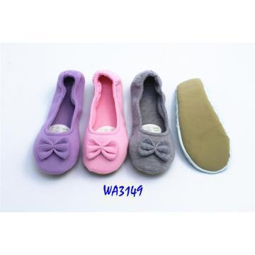 Women's Soft Bowknot Jersey Dance Shoes Suede Sole