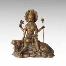 Buddha Statue Tiger Bodhisattva Bronze Sculpture Tpfx-B73