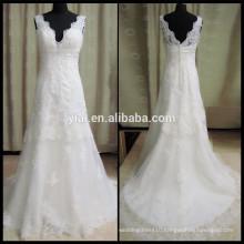 HH0200 v-neck open low back lace wedding dress patterns