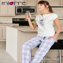 MIORRE OEM WOMEN'S NEW COLLECTION SHORT SLEEVE PRINTED & PLAID PATTERNED PAJAMAS SET
