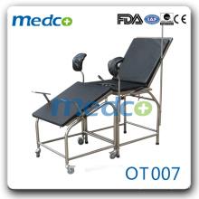Chaise à gynécologie en hôpital en acier inoxydable OT007