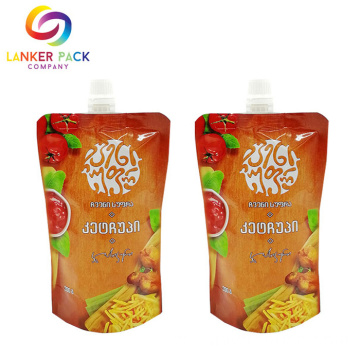 High Barrier Stand Up Spout Pouch Sauce Condimento