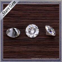 Forma redonda 5mm brilhante branco sintético Moissanite diamante para jóias de moda de ouro