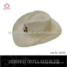 Sombrero de paja natural sombrero de vaquero sombrero de papel de tela blanca llanura moda nuevo diseño al por mayor