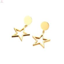 Brincos de estrela pingente gota de aço inoxidável pentagrama