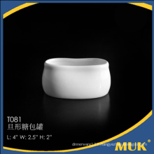 guangzhou restaurant new products pure white porcelain ceramic sugar pot