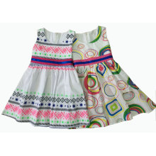Vestido de niña de algodón de moda en ropa para niños (SQD-132-141)