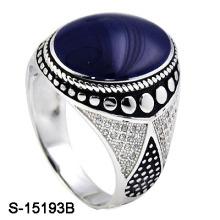 El último diseño del anillo del hombre del esmalte de la plata esterlina 925 con CZ.