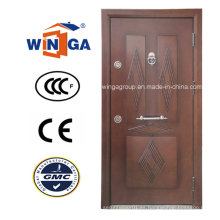 Nigera Marmet Puerta blindada de chapa de madera de MDF de acero popular (W-T06)