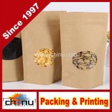 Sacos de zíper de stand up de papel kraft (220098)