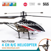 New design FX059 2.4G 4CH Aluminum alloy single blade rc helicopter with gyro