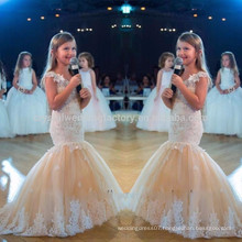 2017 Kids Tulle Appliques Lace Bow Mermaid First Communion Dresses Flower Girl Dresses For Girls Pageant MF898