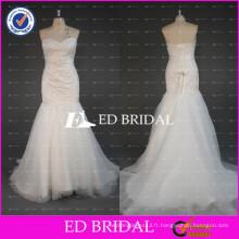 2017ED Mariage nuptiale en perles motif sweetheart cou lace-up arrière sirène robe de mariée avec ceinture