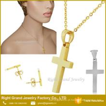 Dubai Gold Cross Pendant Earrings conjunto de jóias por atacado