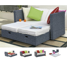 Chaise Lounge Retractable Outdoor Patio Garden Rattan Daybed