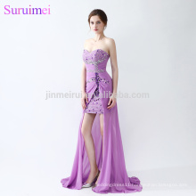 100% Real sample Purple Beads Short Prom Dresses 2018 Latest Design Sweetheart Gorgeous Prom Party Gowns Vestidos de Noiva