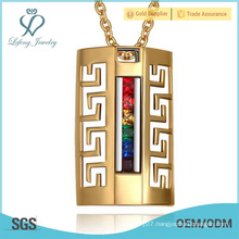 Stainless steel gold gay pendant,rainbow couple pendant for gay