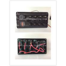 4 Gang Circuit Breaker Black Switch Panel 12V LED with Digital Voltmeter and Dual USB Marine Charger Socket