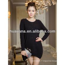 robe noire en cachemire de la femme pour l'hiver