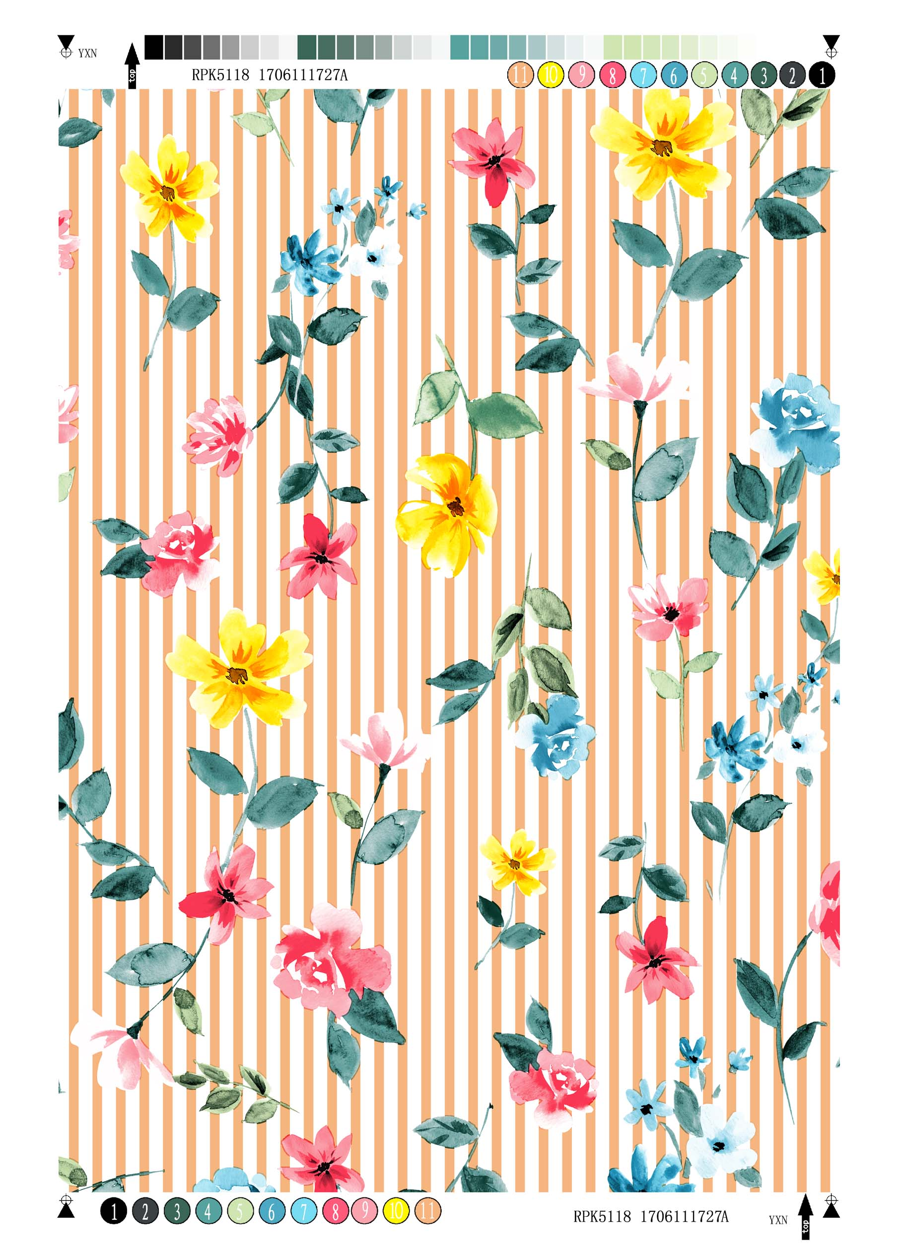Polyester Bubble Crepe Printing Fabric Stripe Flower