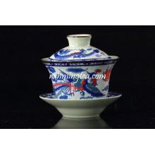 Tradicional, dragón, phenix, té, taza, platillo, soportes