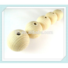 Natural Round Untreated Plain Wood Balls Bead With Hole Door Curtain