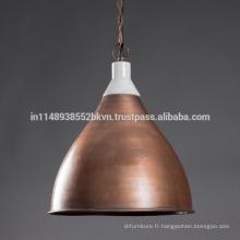 Lampes suspendues de cuivre vintage industrielles