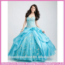 HQ152 Professional supplier for wholesales bright blue strapless white lace ball gown organza embroidery quinceanera gowns