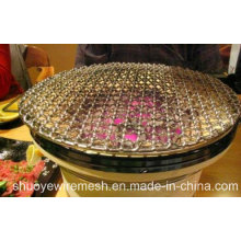 Convenient Round Barbecue Grill Wire Mesh with Wood Handle