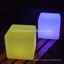 Ce mobilier cube led étanche éclairage décoration jardin sans fil changeant de couleur carré conduit chaise cube lumineux pour la partie
