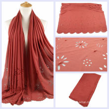New hot girls high quality pearl laser cut flower bubble chiffon scarf plain muslim hijab cap with beads