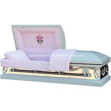 Branco Rosa espelho 18 Gauge aço caixão