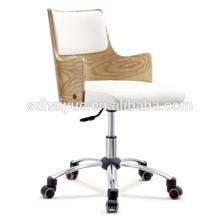 höhenverstellbarer Konferenzstuhl aus weißem Holz mit verchromtem Gestell