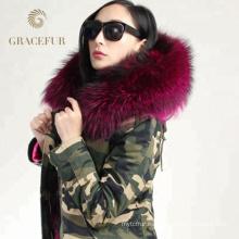 Chaqueta parka capucha de piel de mapache real de alta calidad con forro de piel de invierno