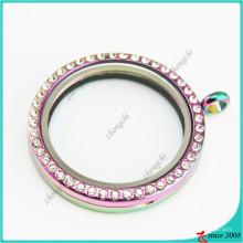 Pingente de vidro medalhão redondo de arco-íris de 38mm para Neckalce