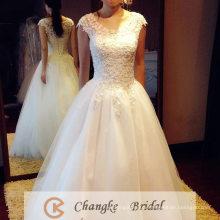 2017 Cheap Wedding Dress Cap Sleeve Crystal Floor Length Ruffle Long Princess Bridal Gown
