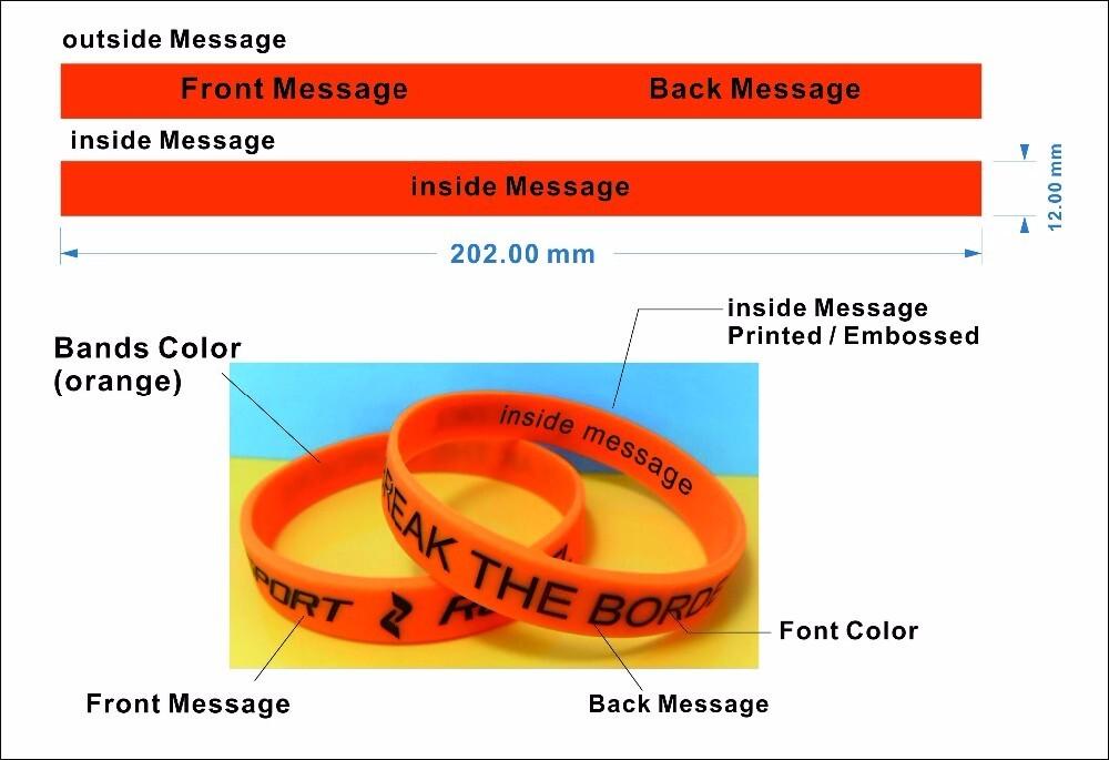 Custom logo transparent silicone bracelets silicone wristbands