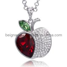 Sw Elements Crystal Light Siam et Peridot Color Apple Shape Necklace